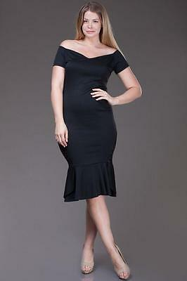 Black Sweetheart Neckline Evening Party Frill Hem Midi 183 mv Dress 1XL 2XL 3XL