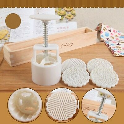 Chic Chinese Moon Cakes DIY Tool Mould Decoration Mold+4 Stamps Traditional HOT