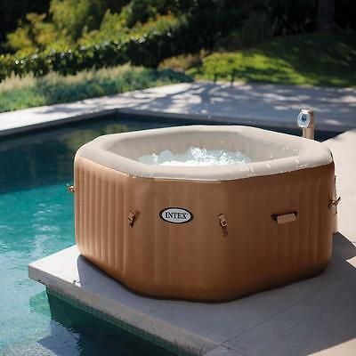 Intex Purespa 4 Person Bubble Octagonal Inflatable Portable Hot Tub Spa Jacuzzi