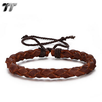 TT Deep Brown Genuine Leather Bracelet Wristband (LB362) NEW Arrival