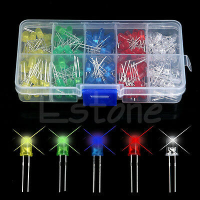 DIY 200Pcs 5mm LED Light White Yellow Red Blue Green Assortment Diodes Kit