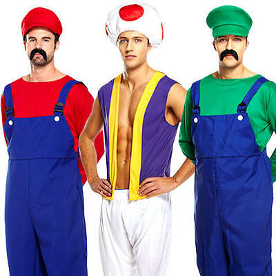 Super Mario Mens Fancy Dress Video Games Workman Plumber 80s Game Adult Costume