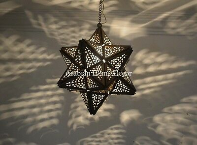 """Handcrafted Oxidize Brass Moroccan 12"""" Wide Hanging Star Lamp Ceiling Light"""