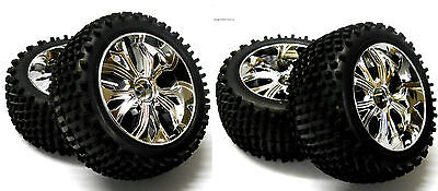 BS701-002/3A 1/10 Scale RC Buggy Off Road Wheels and Tyres FRONT REAR Chrome 4
