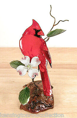 Sculptures -  Cardinal With Dogwood Blossom Metal Tabletop Sculpture