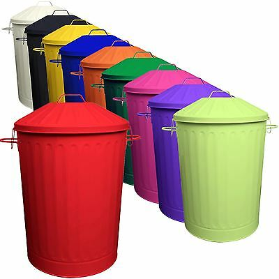 2 X 90L Colour Metal Dustbin House Garden Bin with Special Locking Lid UK