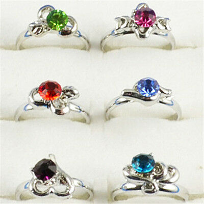 Wholesale Lots 40 pcs White Gold Pld Cute Kid 's Party Crystal Adjustable Rings