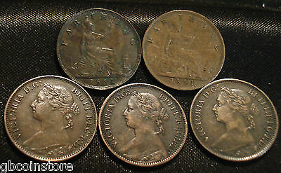 1860 to 1895 VICTORIA BUN HEAD FARTHINGS CHOICE OF YEAR GRADED FINE & BETTER