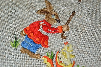 Easter Bunny Protects Chick From Rain W/ Umbrella! Vtg German Hand Emb Runner