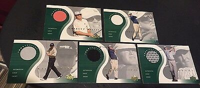 2001 Upper Deck Golf LOT of ( 5 ) TOUR THREADS Relic USED Shirts PRICE CLARK