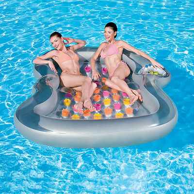 Large Dual 2-Person Swimming Pool Float Raft Inflatable Mattress Lounger