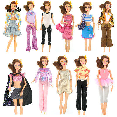 5 Pair Shoes + 5 Suits Outfit Lot Dress Clothes Cute Top Party For Barbie Doll t
