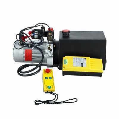 6 Quart Double Acting Hydraulic Pump DC 12V Dump Trailer+Wireless Remote Control