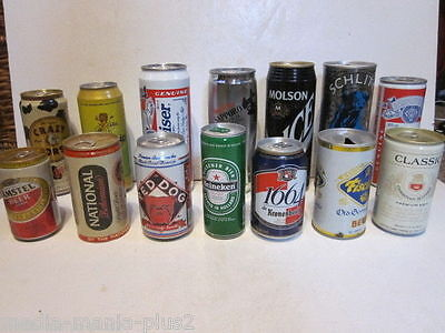 Collectors Lot 14 Assorted American Beer Cans Budweiser,fischer,national & Other