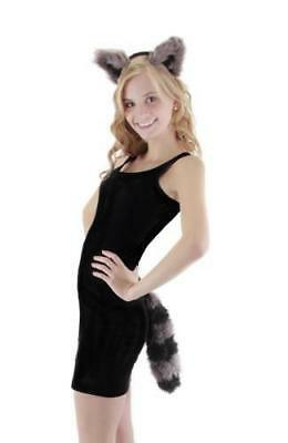 Brand New Raccoon Ear &Tail Costume Accessory Kit Adult One Size