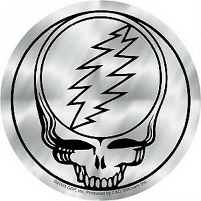 """GRATEFUL DEAD steal your face STICKER 4"""" **FREE SHIPPING** (shiny chrome) mirror"""