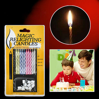 10X Prank Candle Magic Trick Relighting Candle Birthday Cake Party Gag Joke EF