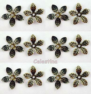 50 x Antique Bronze Bead Caps Flower - 15mm Bead Cone Iron Daisy Cap BC40