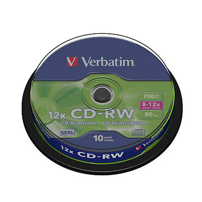 Verbatim 10 CD-RW CD Blank Rewritable Discs 700mb 80 mins 10 Pack 8-12x speed