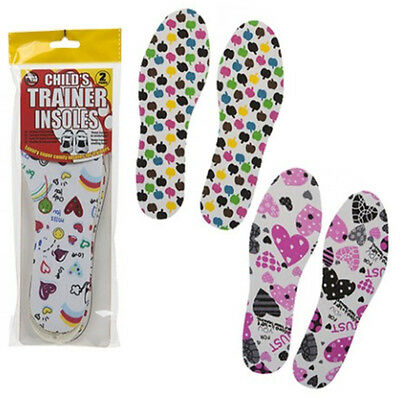 2 PAIR PACK CHILDS CHILDRENS KIDS TRAINER SHOE INSOLES SIZE UK 8.5-3 Euro 26-36