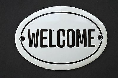 Vintage style classic small WELCOME door plaque enamel metal door sign
