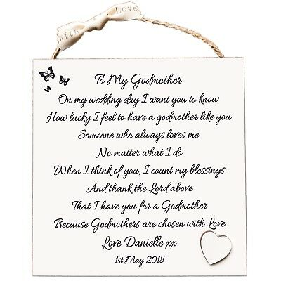 Godmother Gift, Thank You Personalised Wedding Plaque wooden Card W233
