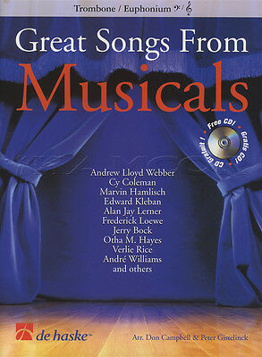 Great Songs from Musicals Trombone or Euphonium Bass Treble Clef Music Book & CD