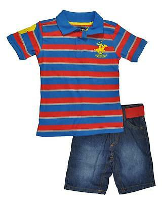 Beverly Hills Polo Club Boys S/S Striped Polo 2pc Short Set Size 4 5/6 7 $29.99