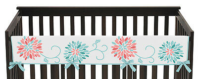 Floral Long Front Rail Guard Baby Girl Flower Teething Cover Crib Protector Wrap