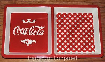 "NEW 2016 COCA-COLA 12""x6.75""x1"" MELAMINE DIVIDED CHIP DIP DISH - PICNIC, PARTY"