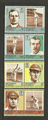 ST.VINCENT Grenadines 1984 CRICKETERS (2nd set) Set 8 Values MNH