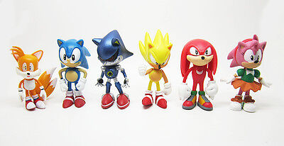 NEW Lot Of 6pc The HEDGEHOG Super Sonic Characters PVC Figure Loose Toy Set #1