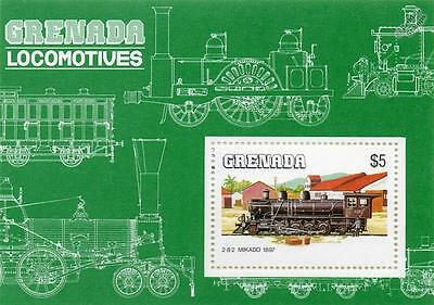 Japan JNR 1897 BALDWIN 2-8-2 Mikado Train Locomotive Stamp Sheet (1984 Grenada)