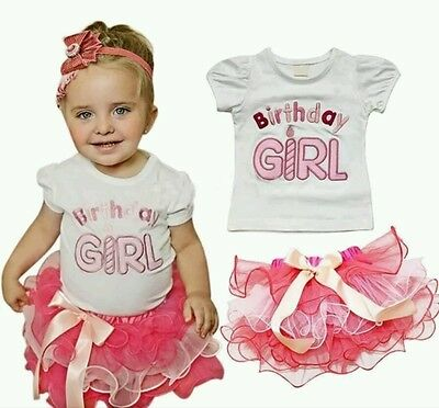 Girls 2nd 3rd Birthday Outfit Tutu T-shirt Pink Cake Smash 2-3 Years Party Dress