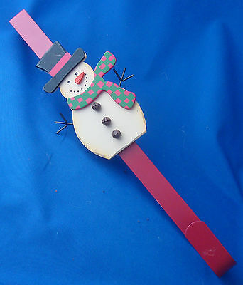 """over the door 15"""" long Christmas metal wreath holder decorated with snowman"""