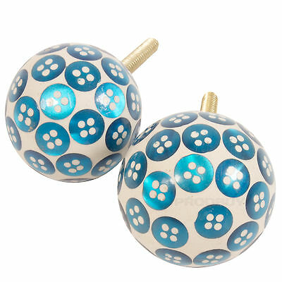 2 x Ceramic Drawer Knobs Door Handles Blue Buttons Pulls Cupboard DIY Upcycle