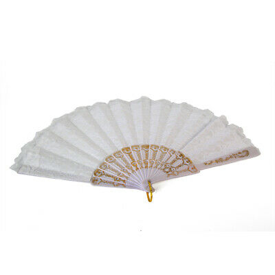 Bulk lot x 24 White Spanish Lace Silk Dance Hand Fan Wedding Party Gift