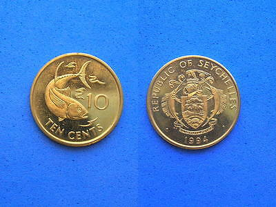 Seychelles YELLOWFIN TUNA Coin, 10 Cents 1994 UNC, 21mm, We Combine Shipping