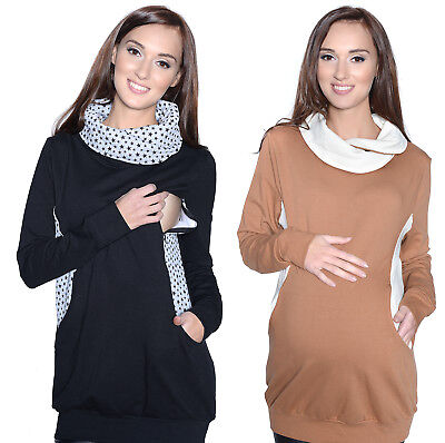 "MIJA 2in1 Maternity & Nursing breastfeeding warm Hoodie Top Pullover ""Star"" 7114"