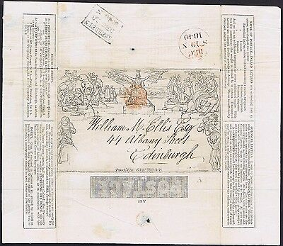 1840 1d Mulready Aberdeen RUBY MX with EDINBURGH LIFE Advert Cat. £6000.00