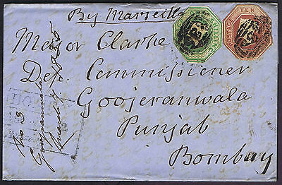 1855 10d and 1/- Embossed Exeter Goojeranwala India Great Contents Cat. £3950