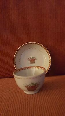 ANTIQUE CHINESE EXPORT PORCELAIN MINIATURE CHILD'S CUP SAUCER basket flowers