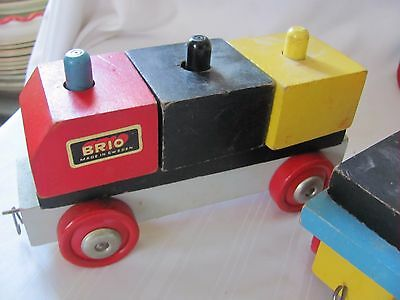 Brio Made in Sweden wood block train pull toy vintage