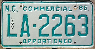 North Carolina 1986 APPORTIONED TRUCK license plate!