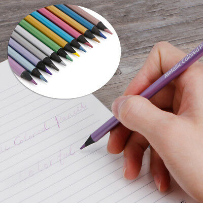 12 Metallic Colored Pencil Non-toxic Drawing Sketching Painting Stationery Set