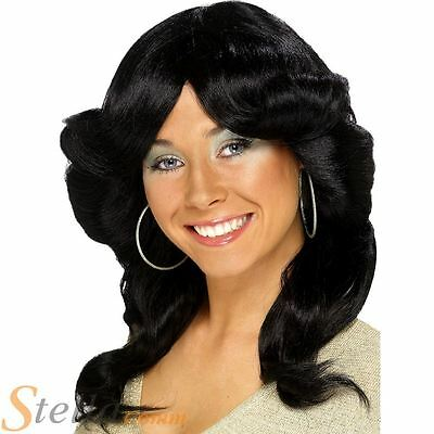 70s Flick Wig Long Black Wavy Womens Ladies Disco Fancy Dress Costume Accessory