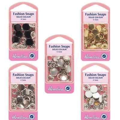 Hemline 6 Sets x 11mm Fashion Snaps Fasteners Poppers Buttons Solid Tops