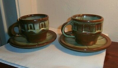 Frankoma Art Pottery  Prairie Green Wagon Wheel 2 Cups And 2 Saucers