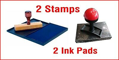 Rubber Wooden Stamp w/ INK PAD NO Self Inking Logo Mechanic Garage Service Sizes