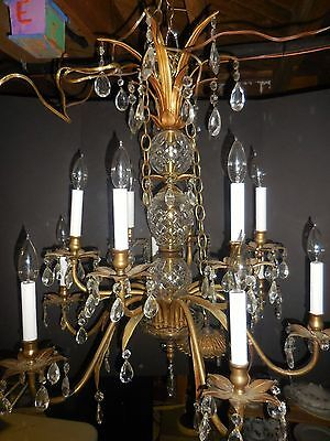 Vintage Brass & Crystal 12 Light Chandelier/working Condition